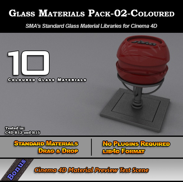 3DOcean Glass Materials Pack-02-Coloured for Cinema 4D 7773323