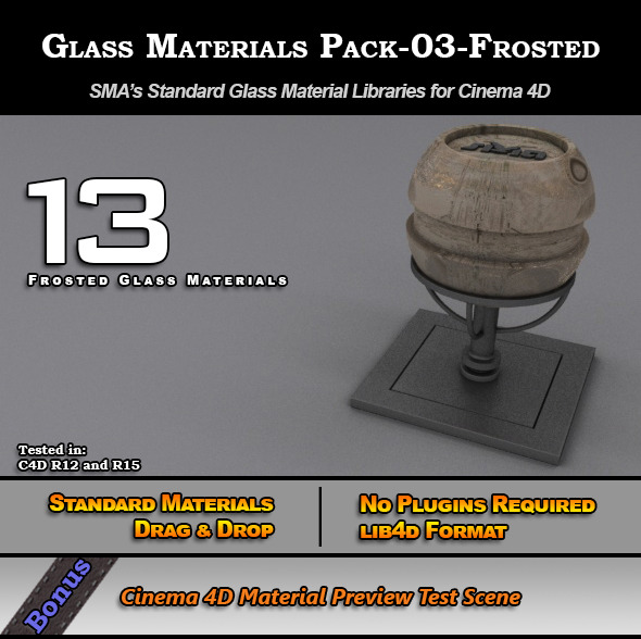 Glass Materials Pack-03-Frosted for Cinema 4D - 3DOcean Item for Sale