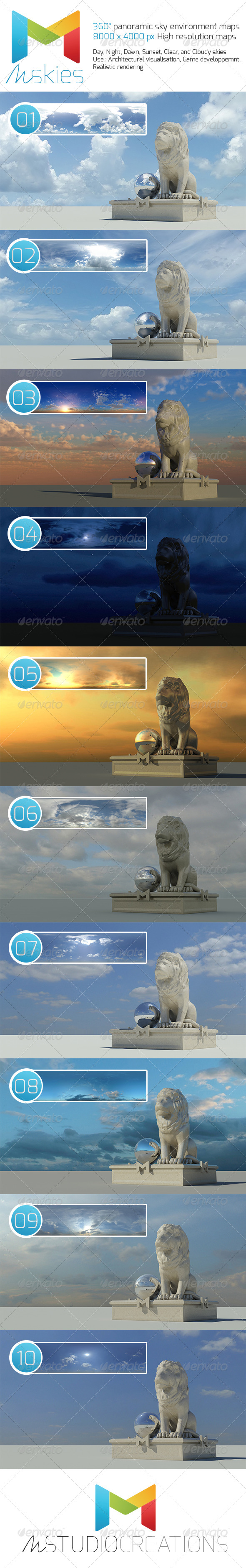 360° High Resolution Panoramic Sky maps - 3DOcean Item for Sale