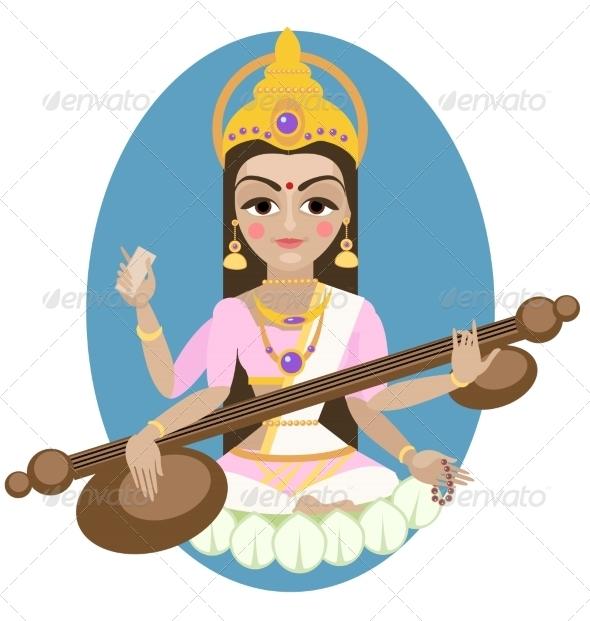 GraphicRiver Hindu Goddess Saraswati 7773346