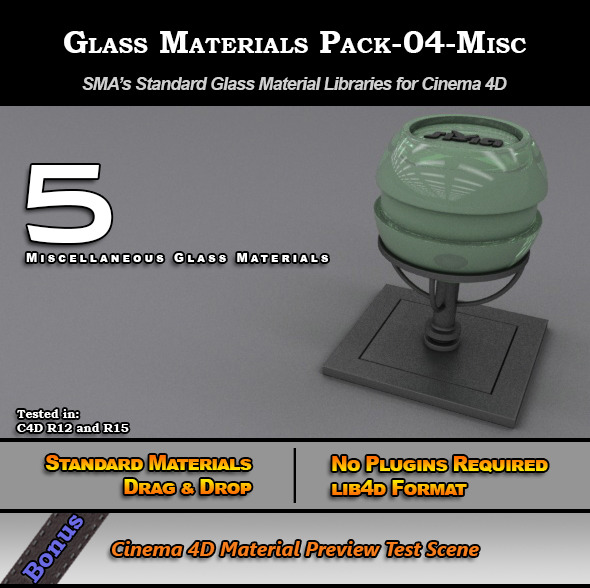 Glass Materials Pack-04-Misc for Cinema 4D - 3DOcean Item for Sale