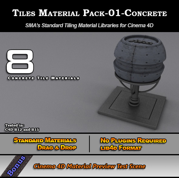 3DOcean Standard Tiles Material Pack-01-Concrete for C4D 7773523