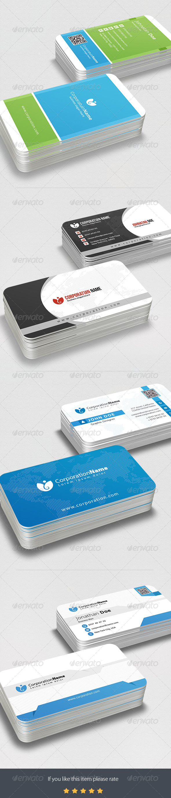 GraphicRiver 4 in 1 Multipurpose Business Card Bundle 7773709