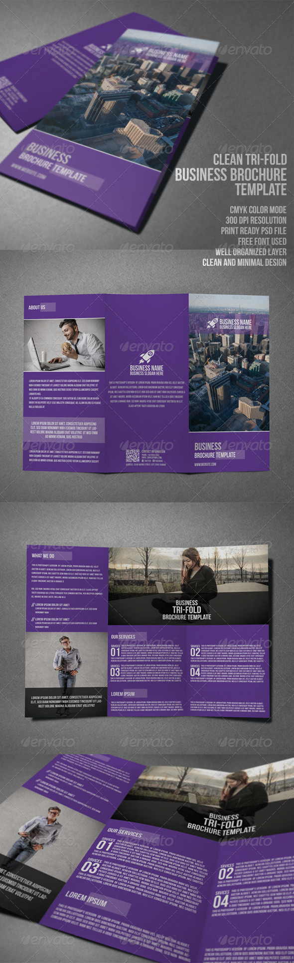 GraphicRiver Clean Business Tri-Fold Brochure 7773948