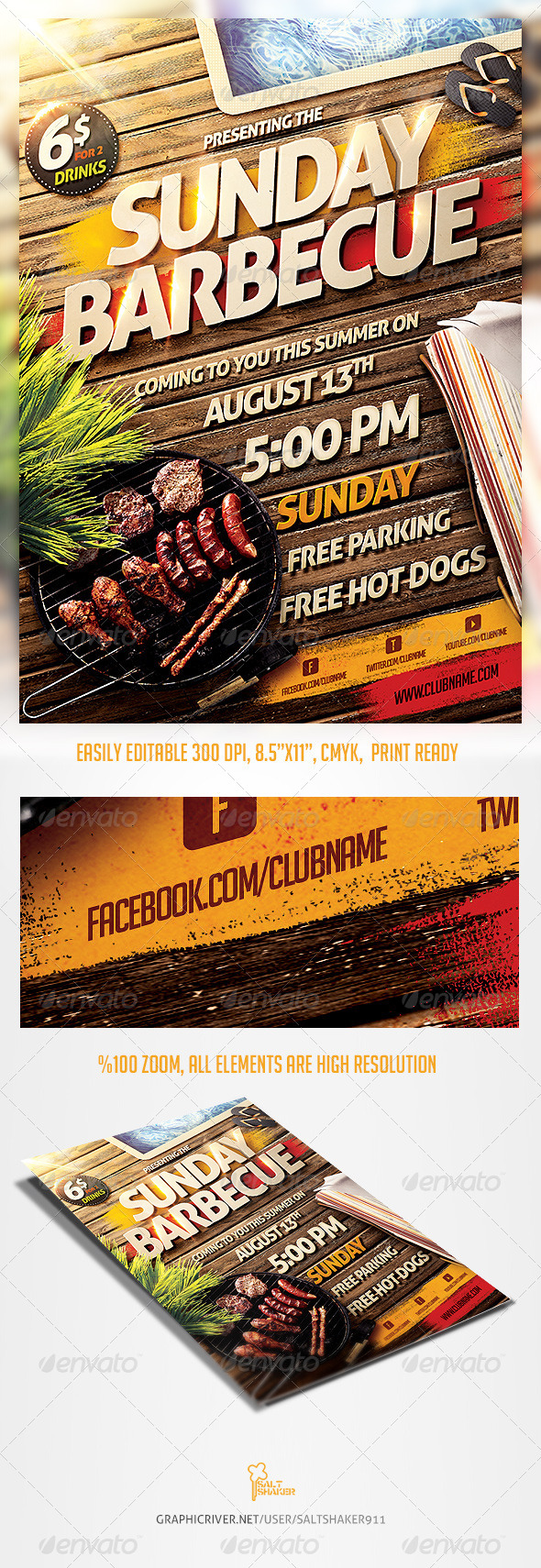 Barbecue BBQ Party Flyer Template - Clubs & Parties Events