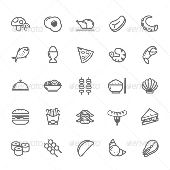 GraphicRiver 25 Outline Stroke Food Icons 7775612