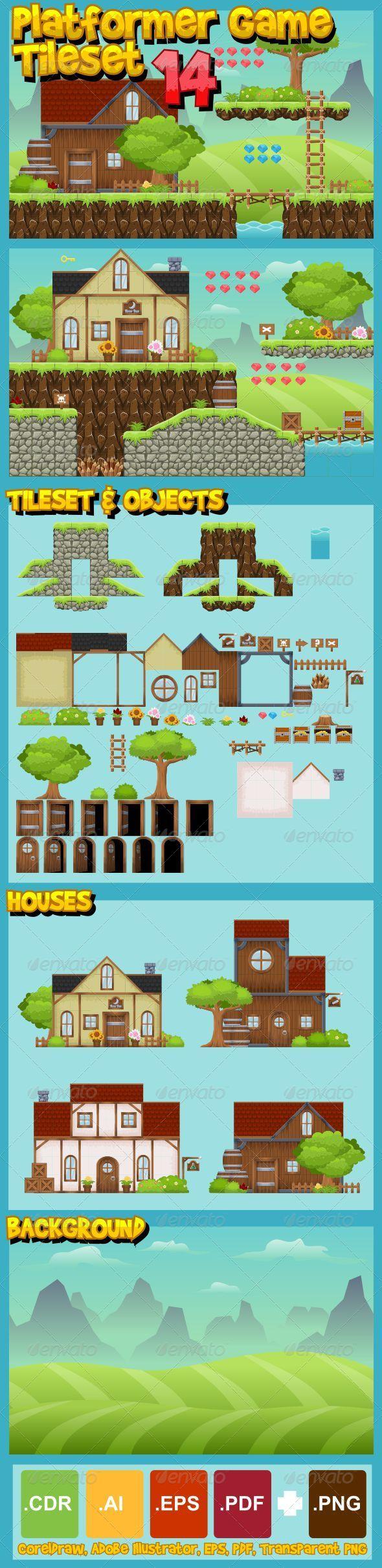 GraphicRiver Platformer Game Tile Set 14 7775615