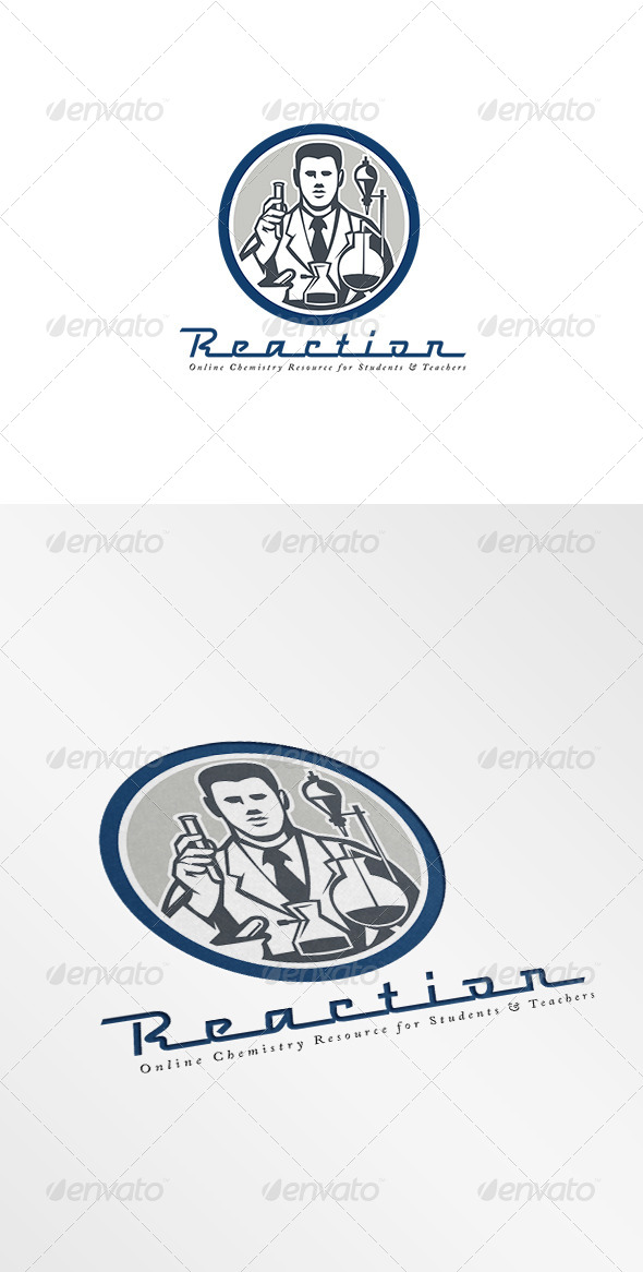 GraphicRiver Reaction Online Chemistry Resource Logo 7775777