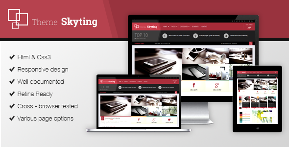 Skyting is a straightforward and feature-rich magazine WordPress theme. Skyting has been built by using some of the most popular current design trends as HTML5,