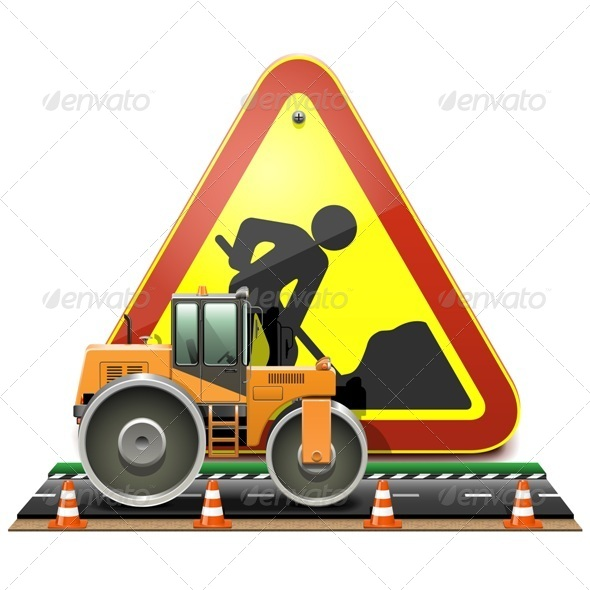 Road Construction Concept with Compactor