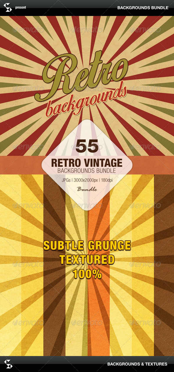 GraphicRiver Retro Backgrounds Bundle Sunburst and Stripes 7776527