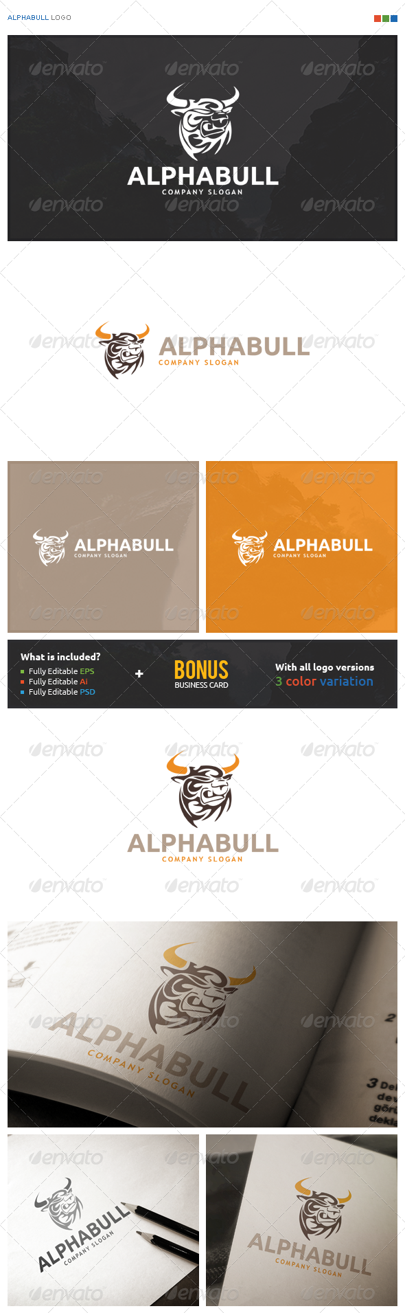 AlphaBull Logo - Animals Logo Templates