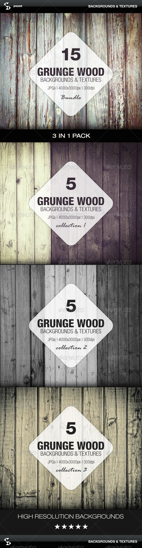 GraphicRiver Grunge Wood Backgrounds Bundle 7776711