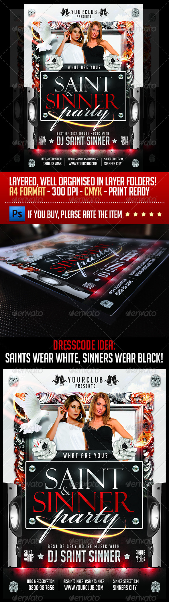 Saint And Sinner Party Flyer Template