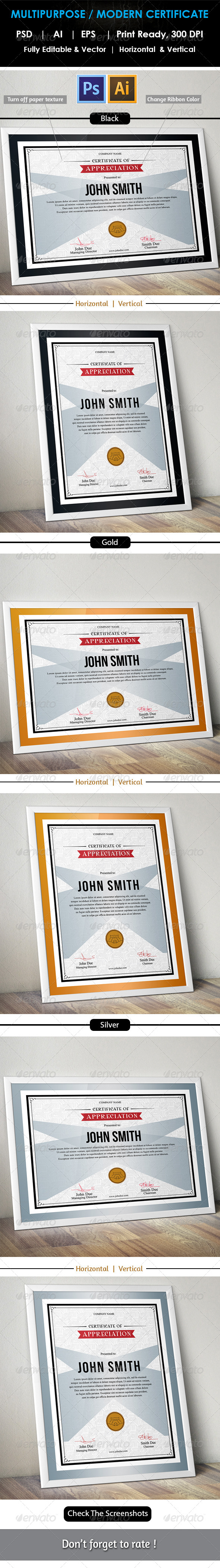 GraphicRiver Simple Multipurpose Certificate GD006 7777554