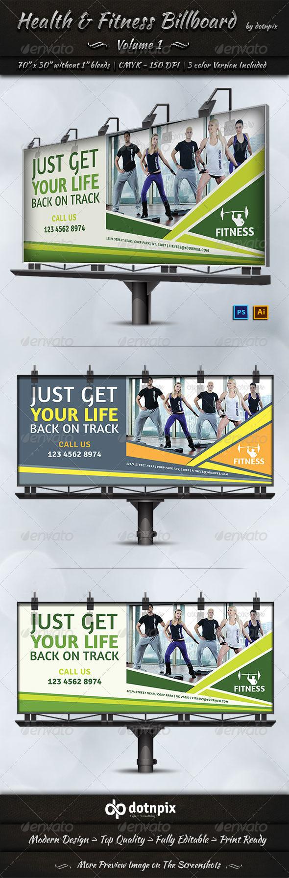 GraphicRiver Health & Fitness Billboard Template Volume 1 7778035