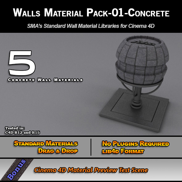 3DOcean Standard Walls Material Pack-01-Concrete for C4D 7778149