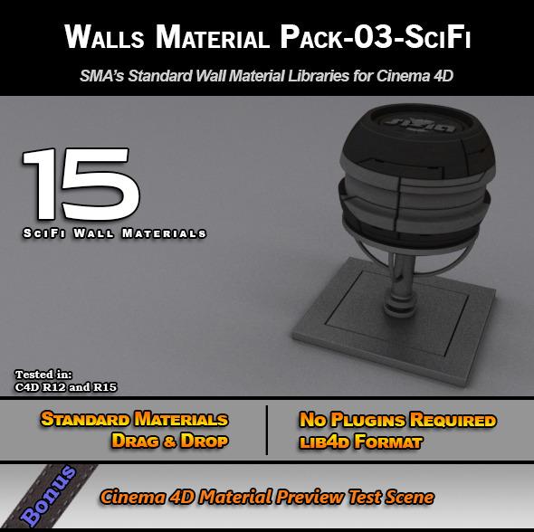 3DOcean Standard Walls Material Pack-03-SciFi for C4D 7778208