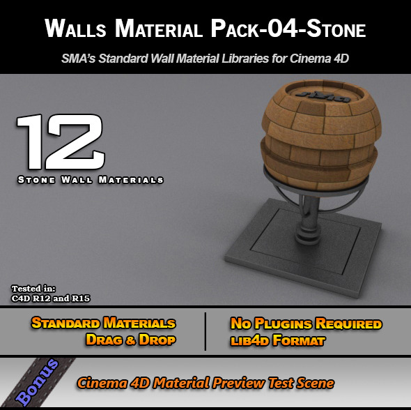 Standard Walls Material Pack-04-Stone for C4D - 3DOcean Item for Sale