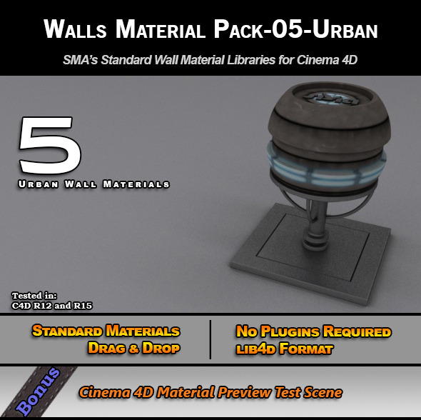 3DOcean Standard Walls Material Pack-05-Urban for C4D 7778314