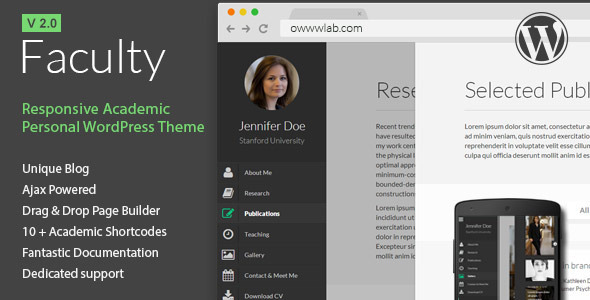Faculty - Responsive Academic WordPress Theme - Personal Blog / Magazine