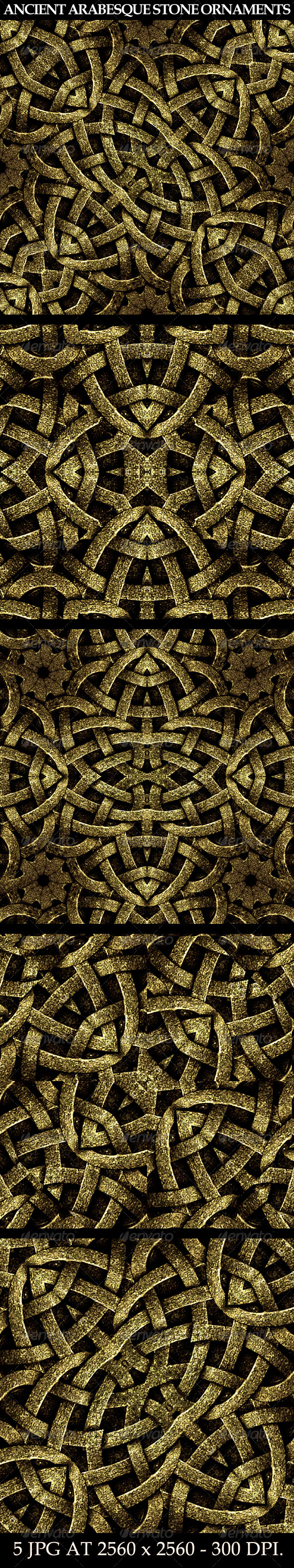 GraphicRiver 5 Arabesque Stone Ornament Backgrounds 7779571