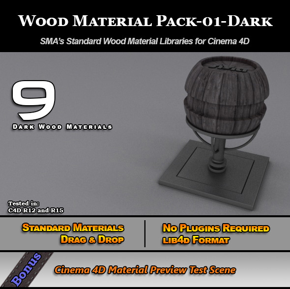 3DOcean Standard Wood Material Pack-01-Dark for Cinema 4D 7779853
