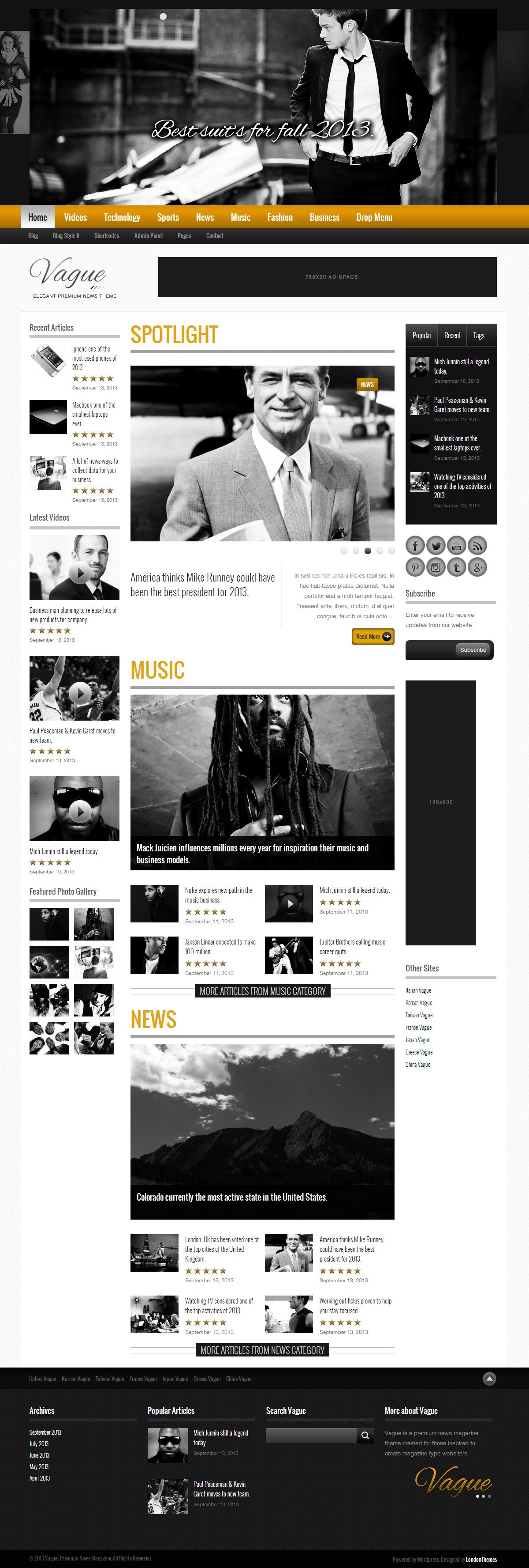 Vague - Premium Responsive News Magazine Theme