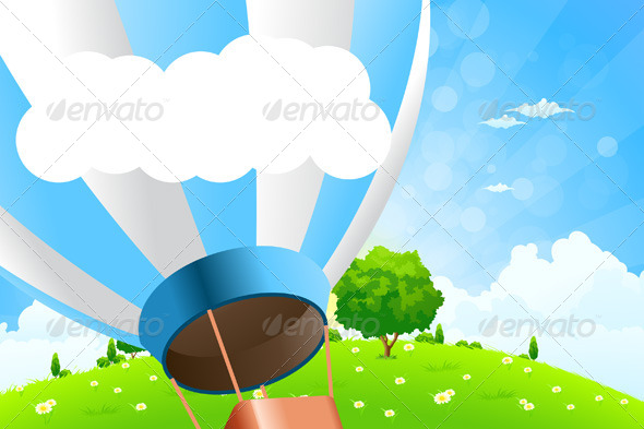 GraphicRiver Green Landscape with Hot Air Balloon 7779926