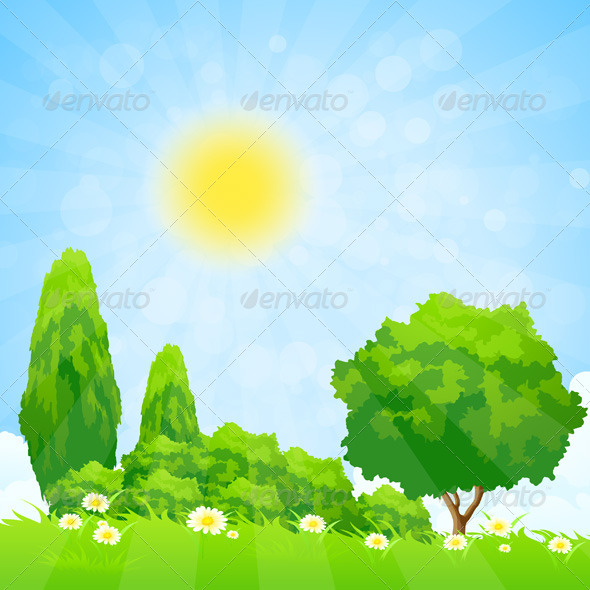 GraphicRiver Green Landscape with Trees 7779928