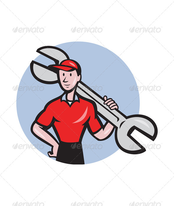GraphicRiver Mechanic Hold Spanner On Shoulder Circle Cartoon 7779991