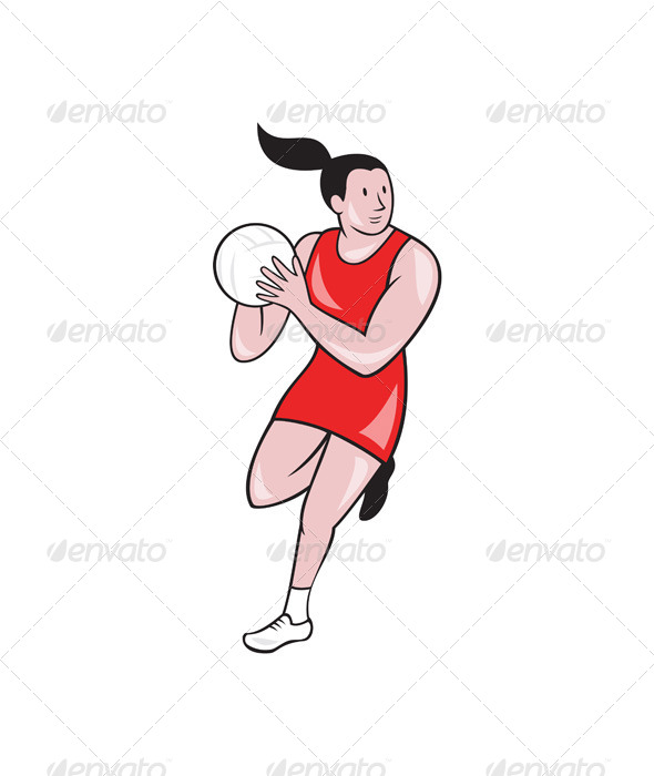 GraphicRiver Netball Player Catching Ball Isolated Cartoon 7779993