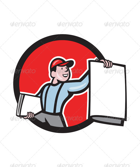 GraphicRiver Newsboy Selling Newspaper Circle Cartoon 7780002