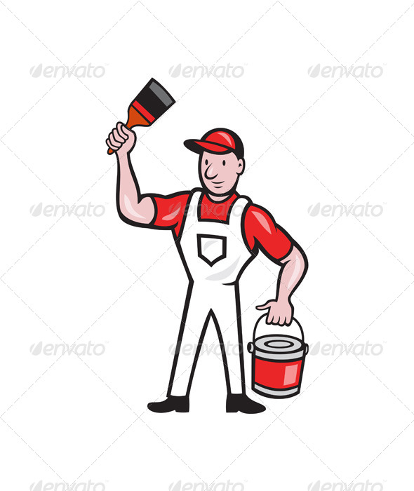 GraphicRiver House Painter Holding Paint Can Paintbrush Cartoon 7780003