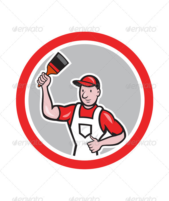 GraphicRiver House Painter Holding Paintbrush Circle Cartoon 7780004