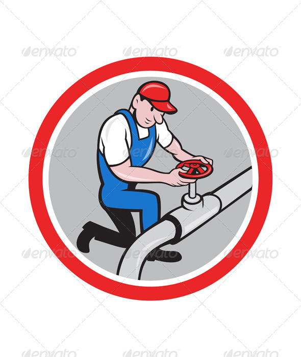 GraphicRiver Plumber Pipe Worker Turning on Flow Circle Cartoon 7780006