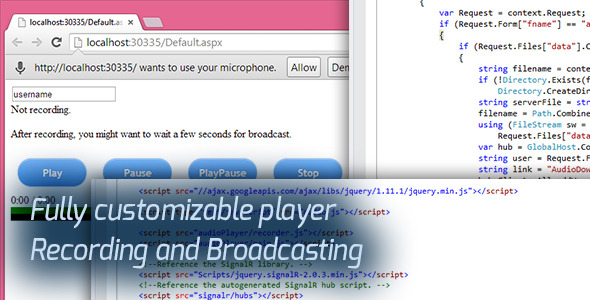 Audio Broadcast HTML5 Recorder and Player