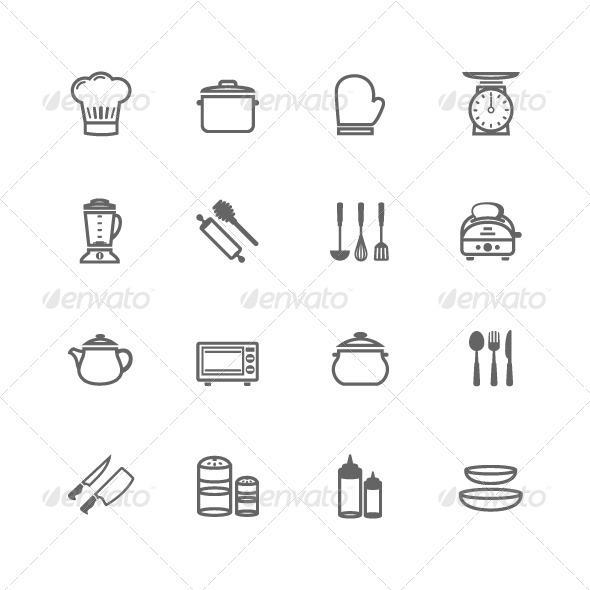 GraphicRiver 16 Outline Stroke Kitchenware Icons 7780857