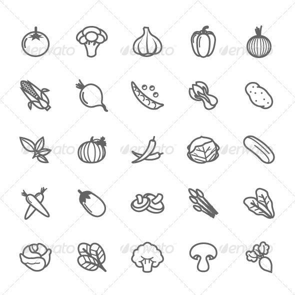Vegetable Icon Outline Symbol Icons