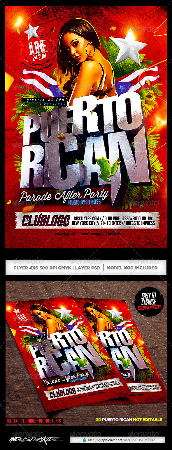 Puerto Rican Party Flyer Template PSD - Clubs & Parties Events