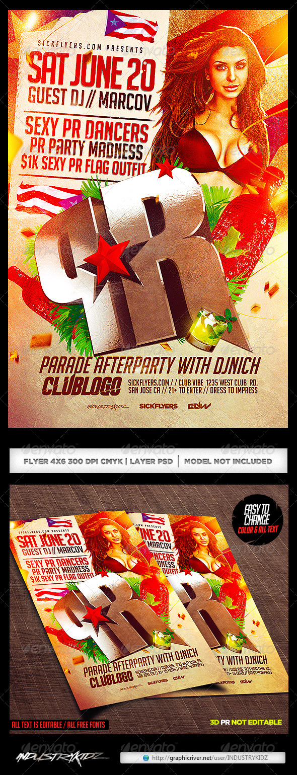 Puerto Rico Parade After party Flyer Template - Clubs & Parties Events