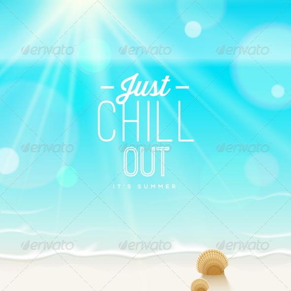 GraphicRiver Tranquil Scene Sea Shore and Type Design 7782238