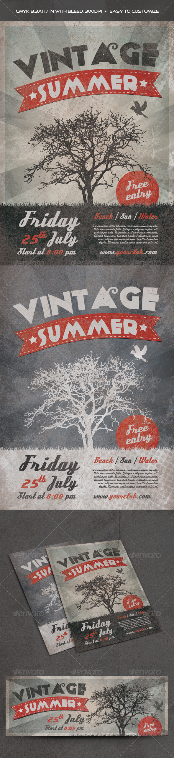 GraphicRiver Vintage Summer Flyer 7758159