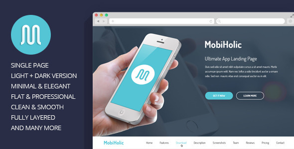 MobiHolic is a Professional Single Page Landing PSD Template with clean & modern design. It also can be ideal for creative studio or for portfolio. The PSD