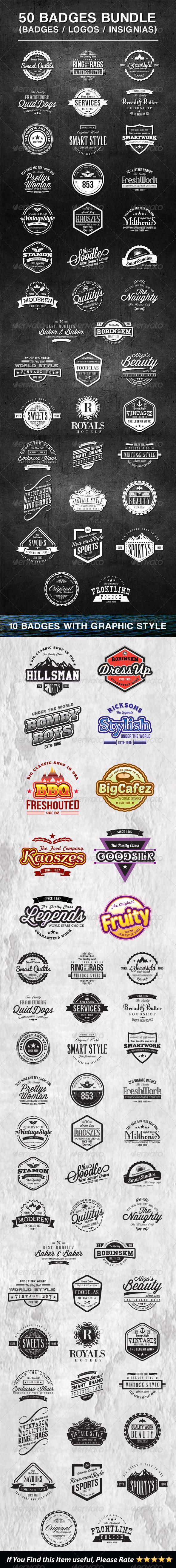 GraphicRiver 50 Vintage Style Badges Bundle 7783533