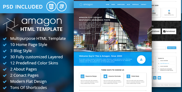 ThemeForest Amagon Bootstrap Flat Multipurpose HTML5 Template 7783664