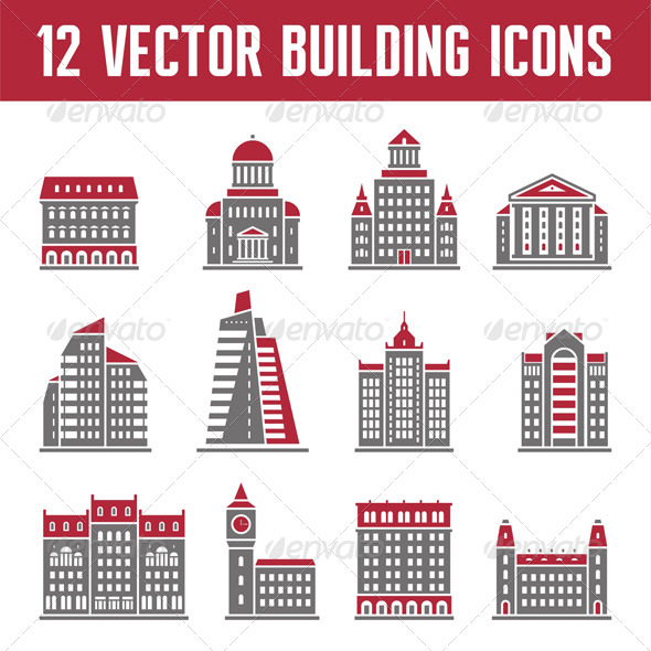 GraphicRiver 12 Vector Building Icons 7783811