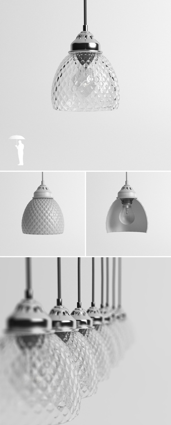 Hubsch Round Glass lamp - 3DOcean Item for Sale