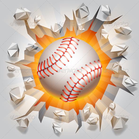 GraphicRiver Baseball Ball and Cracked Wall 7783895
