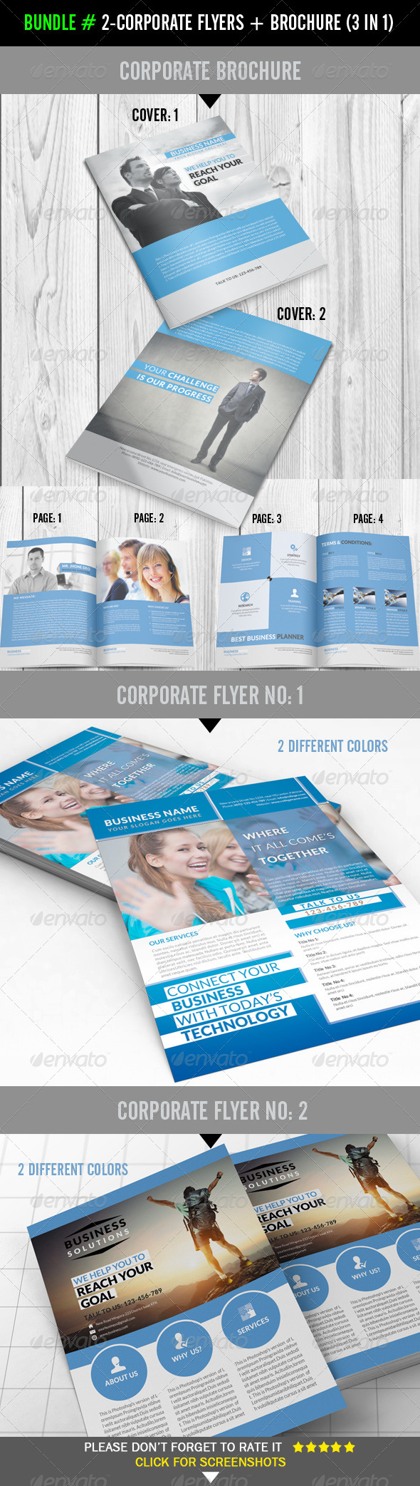 GraphicRiver Bundle # Corporate Flyers & Brochure 3 in 1 7784094